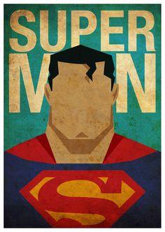 Vintage Minimalist Superman Poster A3 Prints by MyGeekPosters