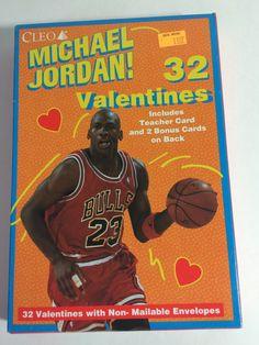 633d4c5ef5d8db Vintage 1990 s Michael Jordan Chicago Bulls Valentines day cards sealed in  box orange 32 count