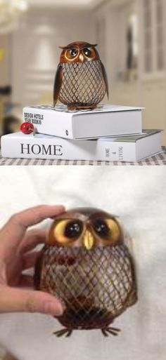 Delightful handmade metal sculpture to decorate your home. This owl figurine can be used to keep coins and loose change but will look equally pretty by just showing off the mesh design. It has a modern artistic and charmingly naive look that makes it versatile for interior decoration.