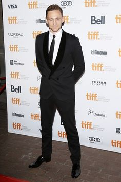 Joseph Gordon-Levitt repped the double-breasted suit at last year's festival; this year, English actor Tom Hiddleston led the charge in a great black version with a velvet shawl collar on the Only Lovers Left Alive red carpet #tiff13