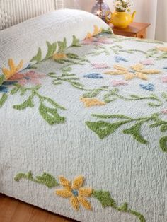 Floral Beauty Chenille Bedspread- Whimsical Flowers In Summery Pastels Grace Our Cotton Chenille Bedspread Guest Bedroom Decor, Linen Bedroom, Linen Bedding, Guest Room, Bed Linen, Vintage Bedspread, Chenille Bedspread, Linens And Lace, Diy Bed