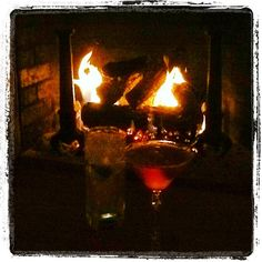 Gin & Tonic and Manhattan in front of fire prior to Thanksgiving dinner  | 11.22.12 | Photo by Jeff Fisher