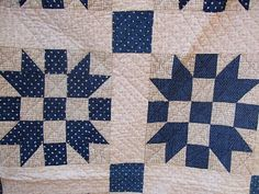 blue white quilt antique -