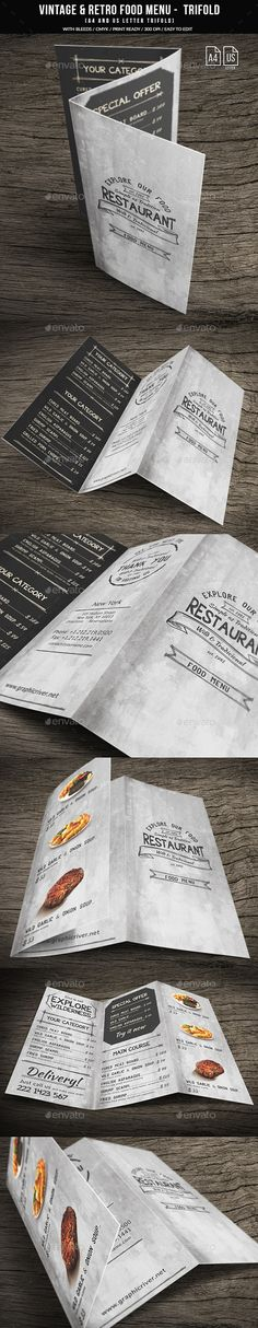 Vintage And Retro Trifold Menu A4 & US Letter - Food Menus Print Templates