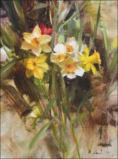"""Daffodils"" by Richard Schmid - Oil Paintings I Love, Oil Paintings, Floral Paintings, Indian Paintings, Abstract Paintings, Virtual Art, Guache, Art Academy, Still Life Art"