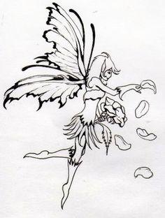 fairy tattoo sketch 3
