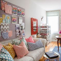 Colourful living room full of happy gorgeous textiles #patterns #livingroom