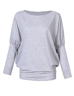 4d8f34113b986 Leadingstar Women Long Batwing Sleeve Loose Tops Boat Neck Dolman Top  Casual T Shirts Blouse Grey