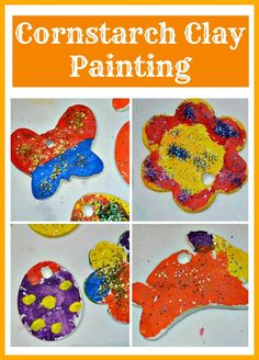 2 ingredient cornstarch clay. Make shapes, air dry and paint. #easter #spring #sensoryactivities #diy