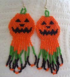 Halloween earrings Beadwork Pumpkin earrings  Beaded  by joymaker, $15.00