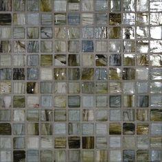 Our accent tile - Lunda Bay Sumi-E 1 x 1 glass tiles in their Sendai color.