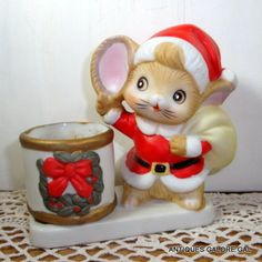 Ceramic Mouse Tealight Holder, Candle Accessory, Christmas Mouse, Santa Claus  (488-14)