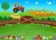 Buy Landscape with Tractor and Cornfield by ddraw on GraphicRiver. Funny Landscape with Tractor and Cornfield. Kids Background, Photo Background Images, Beach Illustration, Landscape Illustration, Art Drawings For Kids, Art For Kids, Orla Infantil, Activities For 5 Year Olds, 2d Character Animation