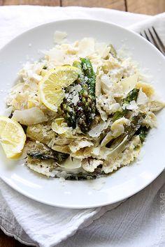 Lemon Artichoke & Asparagus Pasta (Creme De La Crumb)