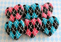 Argyle Heart Cookies
