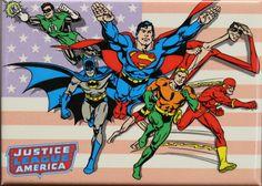 Superman Batman Green Lantern Wallpaper | The Justice League FRIDGE MAGNET DC Comics Superman Batman Flash Green ...