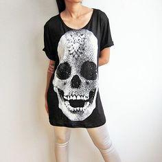 Diamond Skull Skeleton Shirts Damien Hirst Gothic Art Black Womens T-Shirt Size M by Jone Hegoin