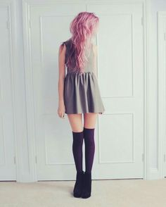 Skater dress, knee highs with ankle boots, and pink hair.