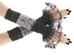 Black gray fingerless gloves arm warmers in by FashionForWomen