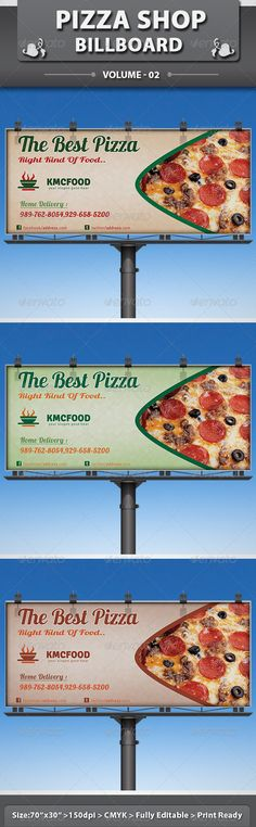 Buy Pizza Shop Business Billboard by dotnpix on GraphicRiver. This food item is a designed for any types of companies. It is made by simple shapes of elements although looks very. Bus Stop Advertising, Change Logo, Inka, American Restaurant, Food Website, Signage Design, Good Pizza, Piece Of Cakes, Simple Shapes