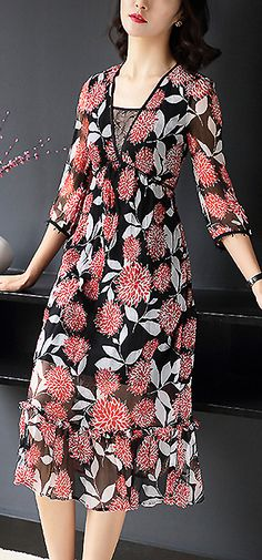 Elegant V-Neck Floral Print Slim A-Line Dress