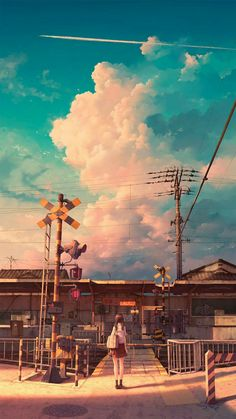 It's hard to look at the illustrations of Kouki Ikegami and not feel as if you're looking at the concept art for a gorgeous anime film. Anime Scenery Wallpaper, View Wallpaper, Galaxy Wallpaper, Art Anime Fille, Anime Art Girl, Animes Wallpapers, Cute Wallpapers, Wallpaper Wallpapers, Iphone Wallpaper