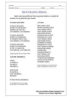 """ESTUDO COM GÊNERO TEXTUAL: POESIA     CAROS PROFESSORES, ESTAS ATIVIDADES FORAM PLANEJADAS E ELABORAS POR MIM, """"ELEÚZIA LINS DA SILVA"""", E..."""