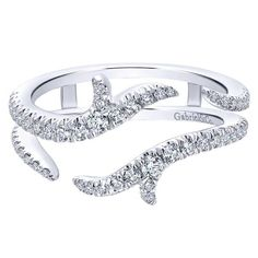 Gabriel 14K White Gold Enhancer Band With 0.42 Carat Total Diamond Weight of Round Cut Diamonds. Style AN12547M-W44JJ