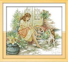 Il sabbatic ragazza e cane kit punto croce 14ct 11ct cotone bianco stampato ricamo diy set cucito a mano della parete decorazione della casa(China (Mainland))