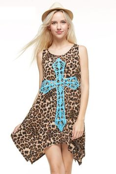 Big Cross Crochet Leopard Dress - Plus