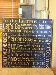 X-tra Large Custom Lake Rules sign - 36x36 - you pick color and wording - handpainted on wood sign