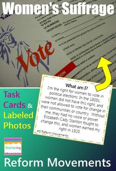 """Reform Movements { Suffrage, Abolition } task cards and vocabulary photo match. Play as scoot, search the room, or center. """"What am I"""" clues match to labeled photographs showing each reform movement vocab  word. Students infer about the described vocabulary & record answers. Supports ELL and visual learners! Vocab pictures included: abolish Elizabeth Cady Stanton Emancipation Proclamation  Harriet Tubman injustice reformer Sojourner Truth The South Underground Railroad Women's Suffrage"""