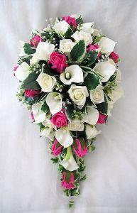 WEDDING FLOWERS BOUQUETS - BRIDES BOUQUET, CALA LILIES & HOT PINK ROSES