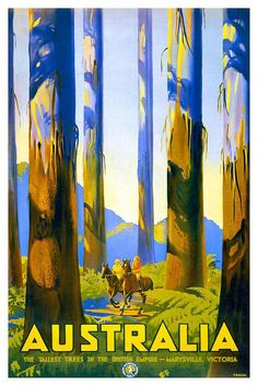 "Australia, vintage travel poster: ""Marysville, Victoria. The Tallest Trees in the British Empire."""