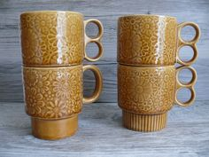 Four 60's 70's Era Stacking Mugs Flower Power Brown Pottery Cups Marked Japan | eBay