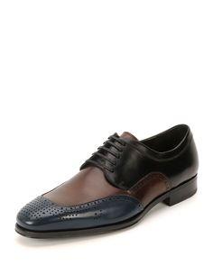 Salvatore Ferragamo Murano Perforated Oxford Shoe, Blue/Burgundy/Black