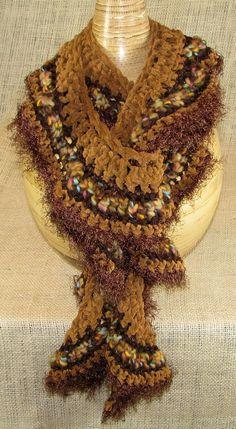 Ruffled Scarf Tan Brown Crochet Spiral