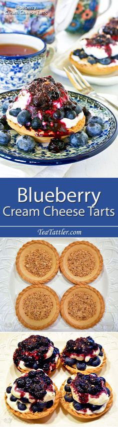 Easy to assemble Blueberry Cream Cheese Tarts using ready-to-fill tart shells. Only minutes to prepare the toppings and sauce on the stove top. | TeaTattler.com