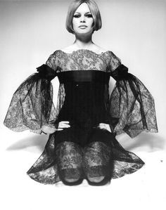 Late 60s lace black mini dress movie star model icon Brigitte Bardot…