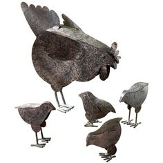 Metal Chicken Sculptures (€15) ❤ liked on Polyvore featuring home, home decor, metal sculpture, metal home decor and chicken home decor