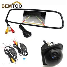 "BEMTOO 2.4G Wireless 4.3"" Color Car Mirror Monitor With 170 Wide Angle HD Night Vision Car Rear View Camera Waterproof Camera"