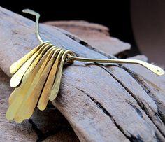 Sticks Dangle Pendant  Copper Hammered Necklace