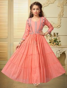 Pink floor length cotton gown for girls Pakistani Dresses Casual, Indian Fashion Dresses, Pakistani Dress Design, Muslim Fashion, Kids Gown Design, Kids Frocks Design, Frock Design, Gowns For Girls, Dresses Kids Girl