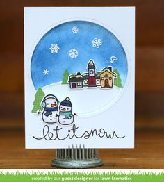 You will have so much fun with the Ready, Set, Snow Clear Acrylic Stamp Set by Lawn Fawn. Included in this set are 20 clear stamps that feature a village, Christmas Cards To Make, Christmas Tag, Xmas Cards, Holiday Cards, Christmas Ideas, Lawn Fawn Blog, Lawn Fawn Stamps, Winter Cards, Making Ideas
