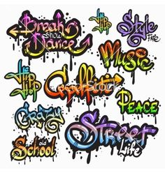 Graffiti word set vector by macrovector on VectorStock®