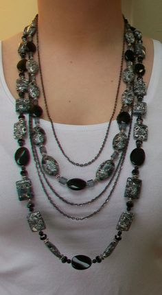 Big and Bold Long Gemstone and Chain Necklace by HandmadebyTinaB