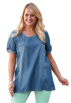 Denim roll-tab tunic by Ellos®   Plus Size Shirts & Blouses   OneStopPlus