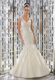 Mori Lee Blue FALL 2017 Collection: 5568 - Monika - Diamanté Beaded, Sculptured Lace Appliqués on Soft Tulle Fit and Flare Gown