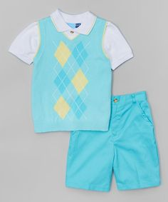 Turquoise Argyle Sweater Vest Set - Infant, Toddler & Boys by Good Lad #zulily #zulilyfinds