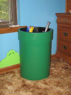Pipe to hold toys (trash can too) Mario's Bedroom Video Game Bedroom, Video Game Rooms, Bedroom Themes, Kids Bedroom, Bedroom Decor, Kids Rooms, Bedroom Ideas, Mario Bros, Chambre Nolan